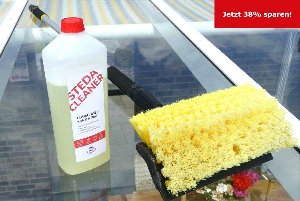 Das steda Glasreiniger-Set mit Spezial-Waschbürste und steda Cleaner für 49,95€ statt 79,95€!