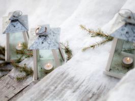Terrasse winterlich dekorieren, mit Teelichtern