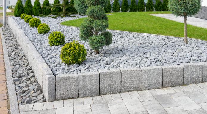 Steinbeet mit kleinen Bäumen