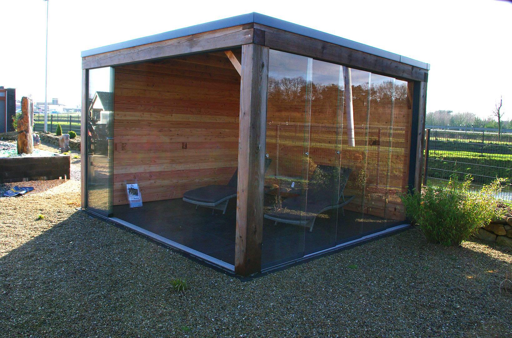 Gartenhaus mit Glasfaltfach
