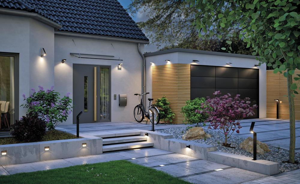 Beleuchteter Vorgarten