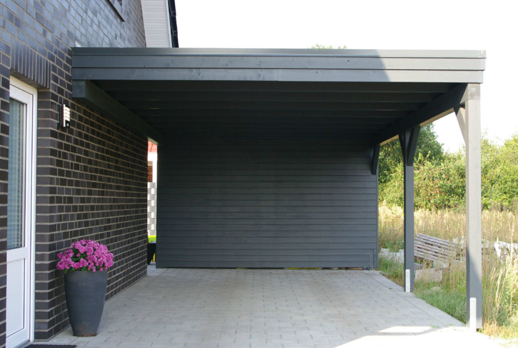 Carport Anthrazit Wandanbau