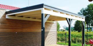 carport-flachdach-holz-wandanbau-ein-fahrzeug