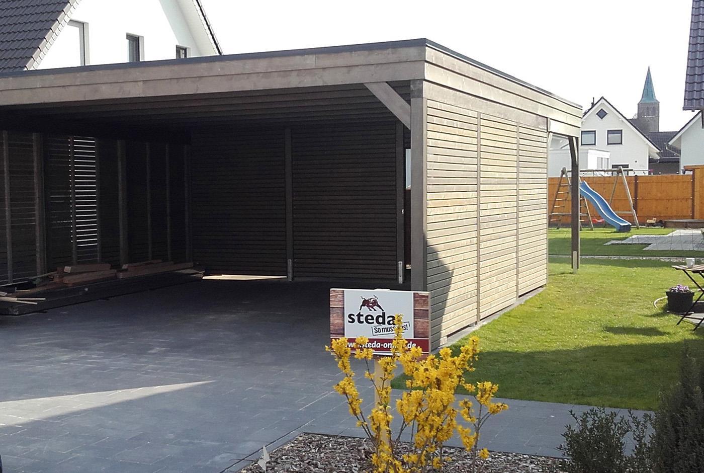 carport mit rhombusleisten - die holzfassade ist entscheidend - so