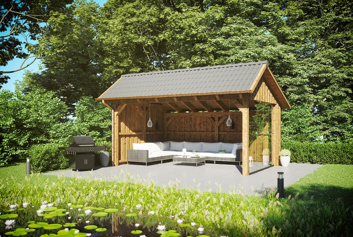 Remise-aus-Holz-im-Garten