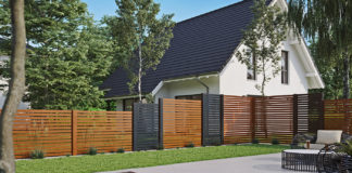 Gartenzaun-braun-schwarz-Balken