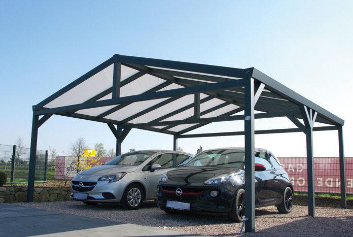 Doppelcarport freistehend mit Satteldach und 2 Autos