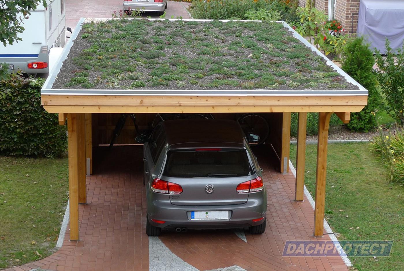 dachbegrünung – gartenhaus- oder carportdach im satten grün